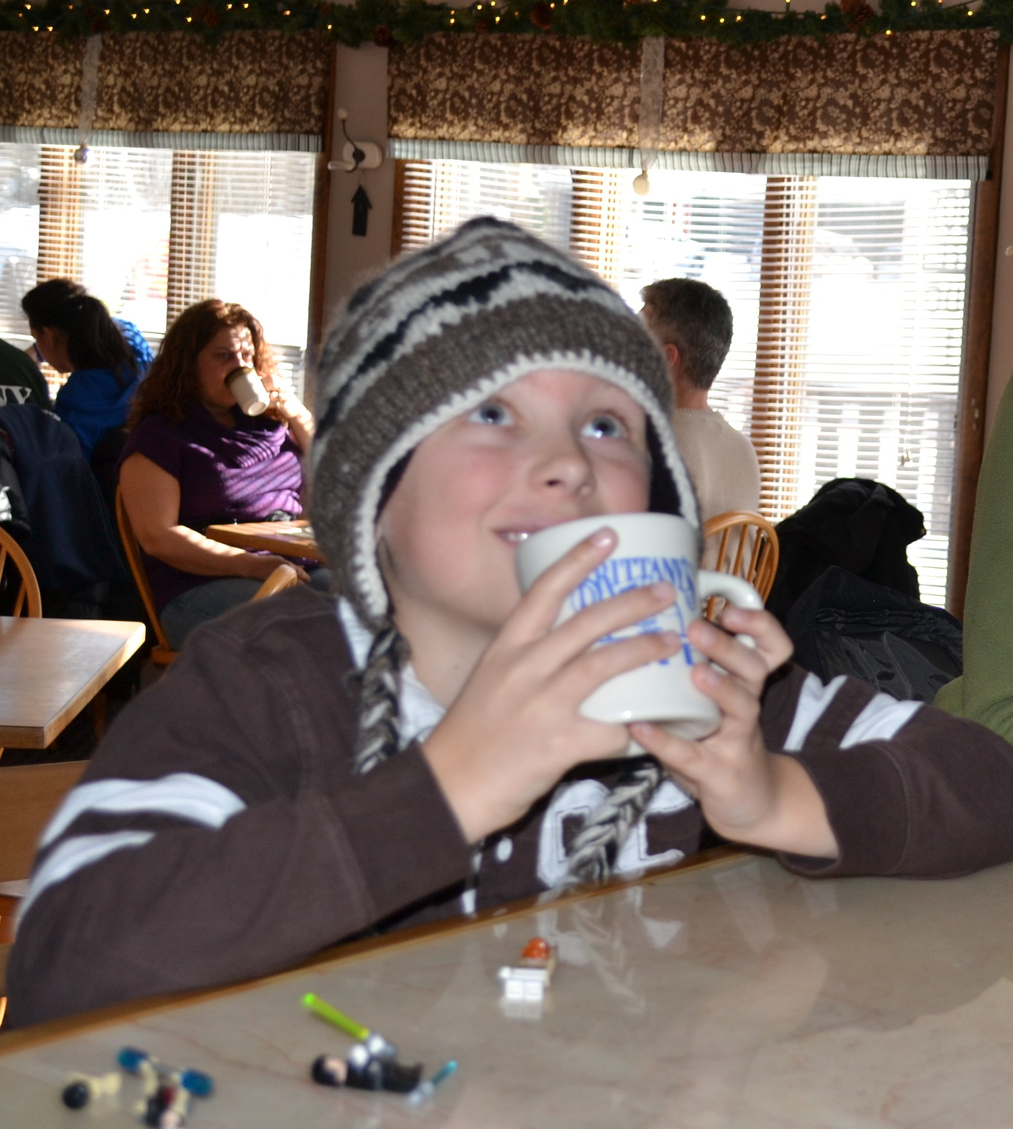 Our friend Jack enjoys a cup of cocoa at Brittany's